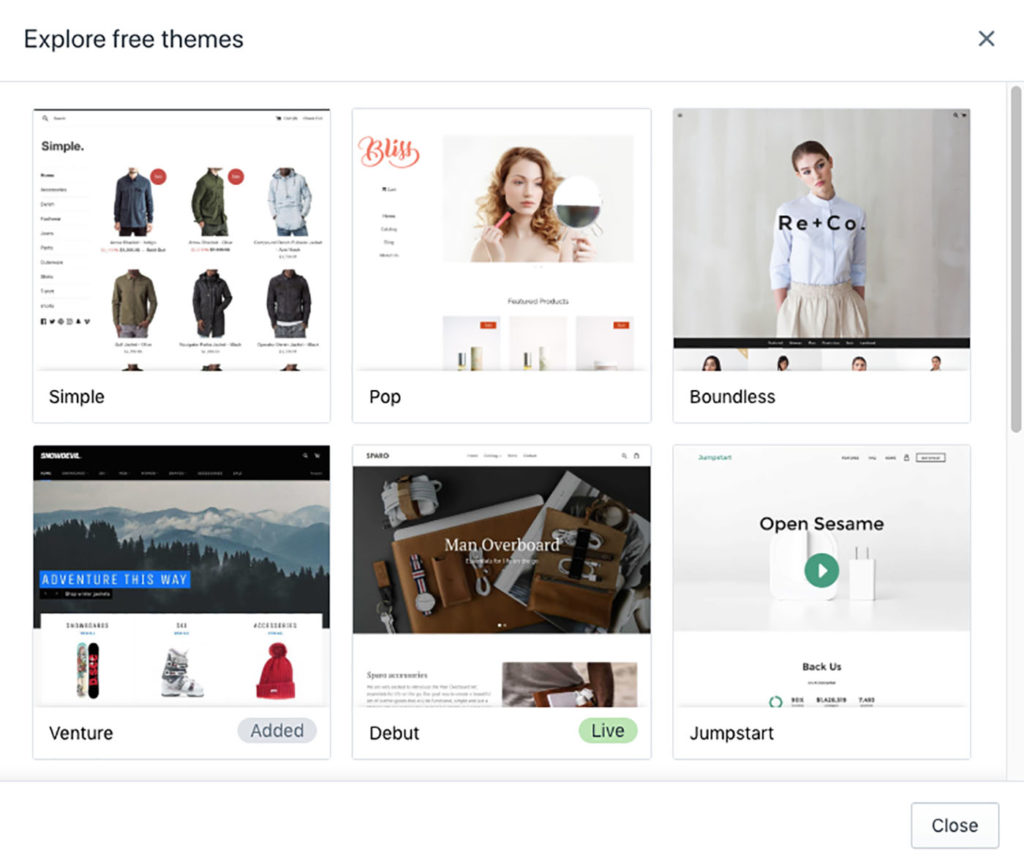 free theme templates shopify