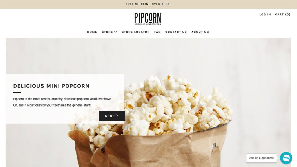 pip snacks shopify store