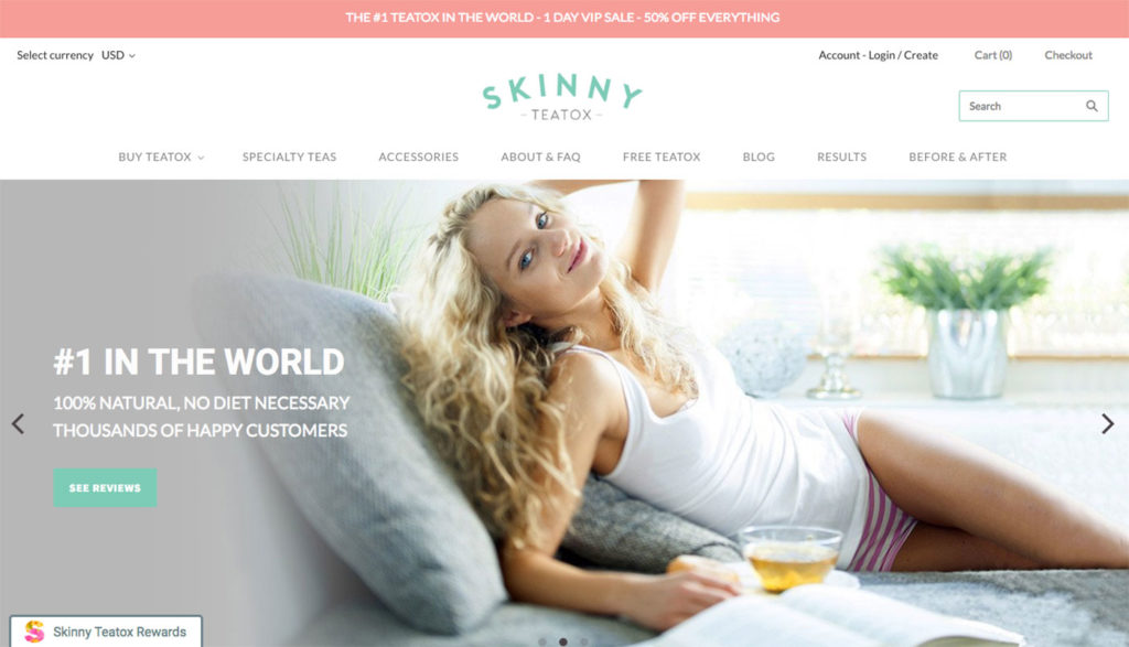 skinny teatox user friendly design