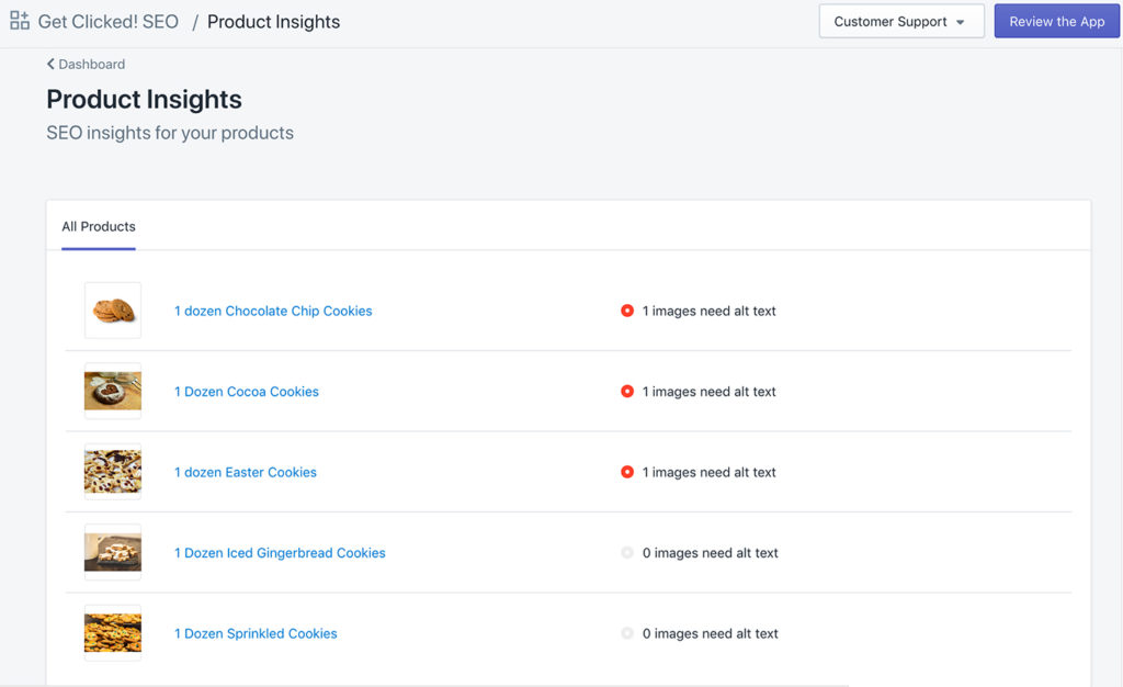 product insights get clicked app
