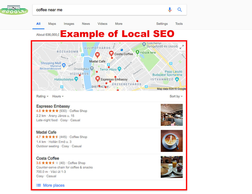 example of local search on google