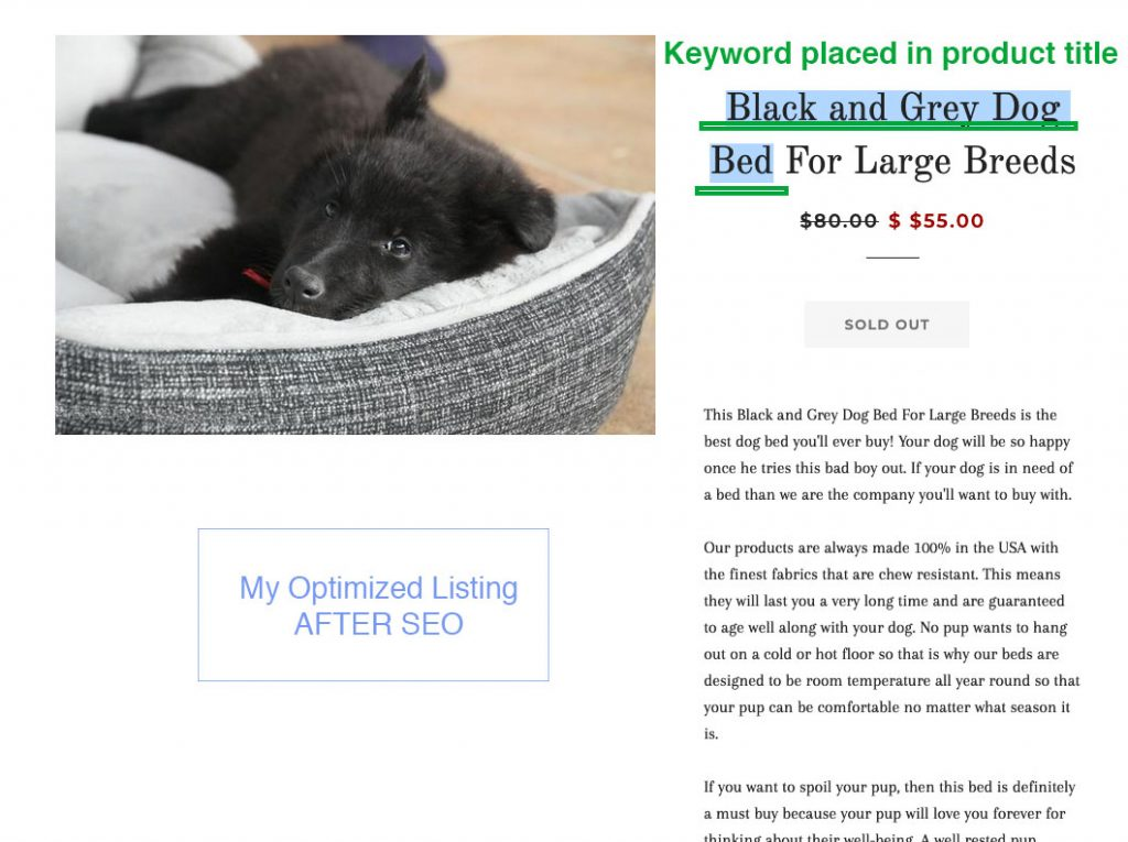 search engine optimization for product title