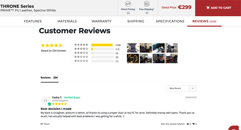 customer reviews for products