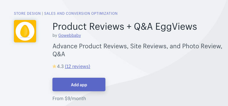 eggviews shopify app product reviews