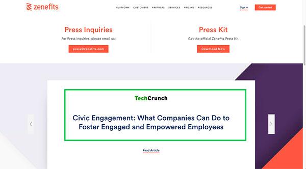 press kit page pr strategy