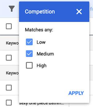 filter medium competition keywords