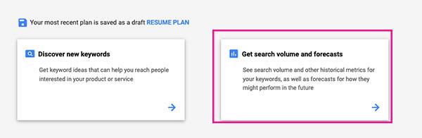 get search volume forecast keywords