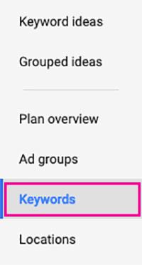 keywords tab